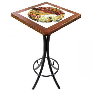 Mesa para varanda gourmet alta quadrada em azulejo Beer Stay Happy - Empório Tambo