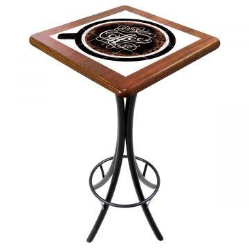 Mesa para varanda gourmet alta quadrada em azulejo Coffe - Empório Tambo