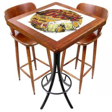 Mesa com 2 cadeiras para cozinha pequena Beer Stay Happy - Empório Tambo
