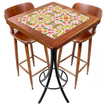 Mesa com 2 cadeiras para cozinha pequena Frutas - Empório Tambo