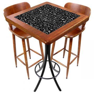 Mesa com 2 cadeiras para cozinha pequena Textura Café - Empório Tambo