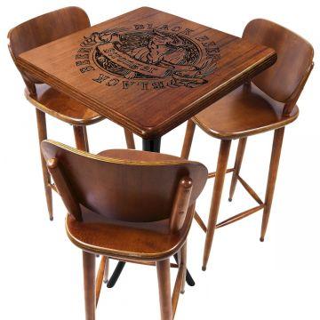 Mesa para bar de madeira com 3 cadeiras Black Beer - Empório Tambo