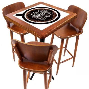 Mesa com 3 Banquetas para Cozinha pequena de apartamento Coffe - Empório Tambo