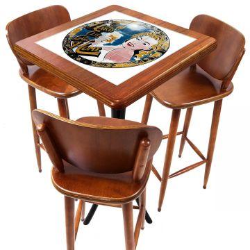 Mesa com 3 Banquetas para Cozinha pequena de apartamento Go hard or Go Home - Empório Tambo