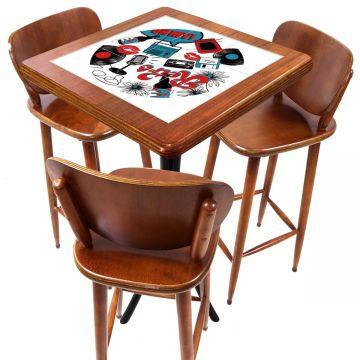 Mesa com 3 Banquetas para Cozinha pequena de apartamento Oh My - Empório Tambo