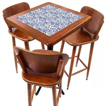 Mesa com 3 Banquetas para Cozinha pequena de apartamento Ondulação - Empório Tambo