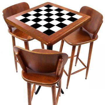 Mesa com 3 Banquetas para Cozinha pequena de apartamento Textura Xadrez - Empório Tambo