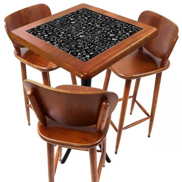 Mesa com 3 Banquetas para Cozinha pequena de apartamento Textura Café - Empório Tambo