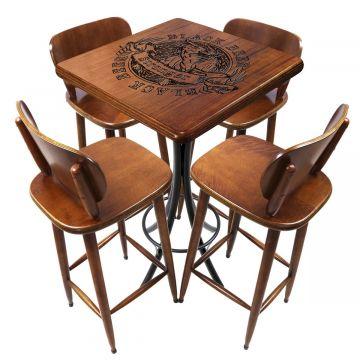 Mesa para sala de jantar 4 banquetas Black Beer - Empório Tambo