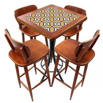Mesa lanchonete madeira retro vintage com 4 lugares Anos Dourados - Empório Tambo
