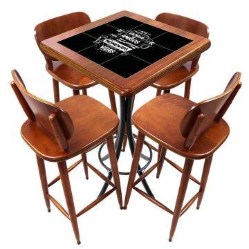 Mesa lanchonete madeira retro vintage com 4 lugares Família e Amigos - Empório Tambo