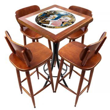Mesa lanchonete madeira retro vintage com 4 lugares Go hard or Go Home - Empório Tambo
