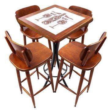 Mesa lanchonete madeira retro vintage com 4 lugares More Wine - Empório Tambo