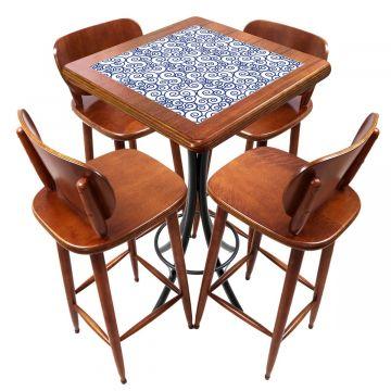 Mesa lanchonete madeira retro vintage com 4 lugares Ondulação - Empório Tambo