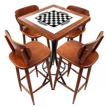 Mesa lanchonete madeira retro vintage com 4 lugares Tabuleiro de Xadrez - Empório Tambo
