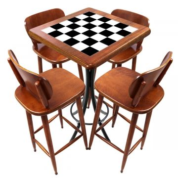 Mesa lanchonete madeira retro vintage com 4 lugares Textura Xadrez - Empório Tambo