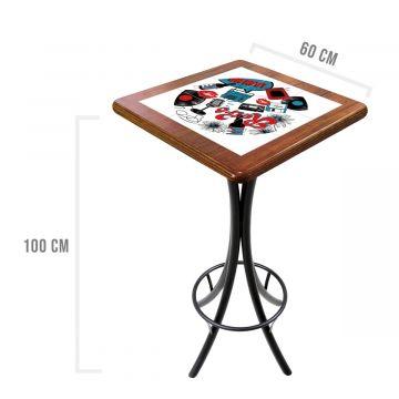 Mesa para varanda gourmet alta quadrada em azulejo Oh My - Empório Tambo