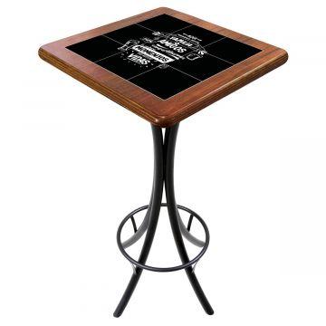 Mesa para varanda gourmet alta quadrada em azulejo Família e Amigos - Empório Tambo