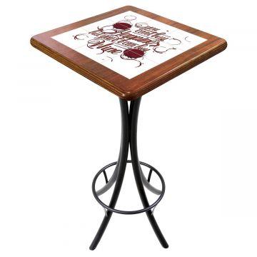 Mesa para varanda gourmet alta quadrada em azulejo Happiness - Empório Tambo