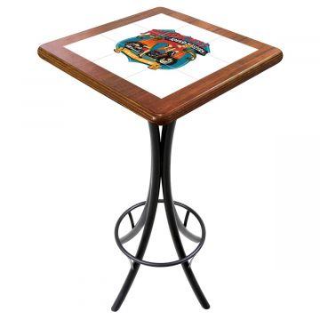 Mesa para varanda gourmet alta quadrada em azulejo Motorcycle - Empório Tambo