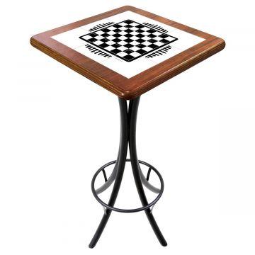 Mesa para varanda gourmet alta quadrada em azulejo Tabuleiro de Xadrez - Empório Tambo