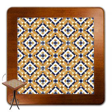 Mesa para varanda gourmet alta quadrada em azulejo Anos Dourados - Empório Tambo