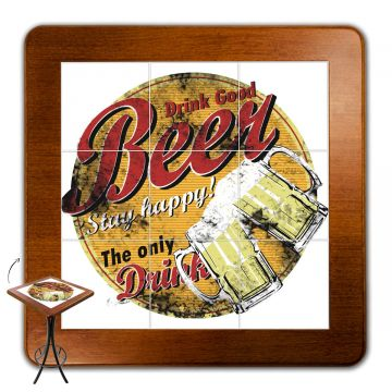 Mesa lanchonete madeira retro vintage com 4 lugares Beer Stay Happy - Empório Tambo