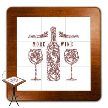 Mesa para varanda gourmet alta quadrada em azulejo More Wine - Empório Tambo
