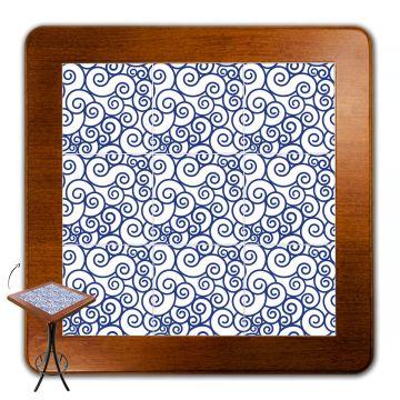 Mesa para varanda gourmet alta quadrada em azulejo Ondulação - Empório Tambo