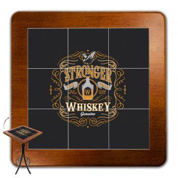 Mesa para varanda gourmet alta quadrada em azulejo Stronger Whiskey - Empório Tambo