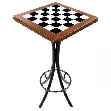 Mesa para varanda gourmet alta quadrada em azulejo Textura Xadrez - Empório Tambo