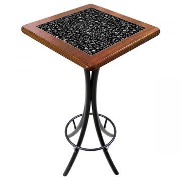 Mesa para varanda gourmet alta quadrada em azulejo Textura Café - Empório Tambo