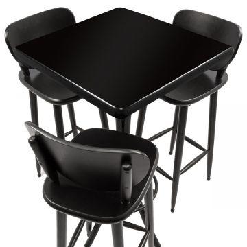 Mesa para bar de madeira com 3 cadeiras Laqueada Preta - Empório Tambo
