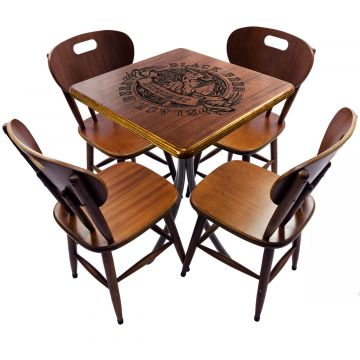 Mesa com 4 cadeiras de madeira Black Beer - Empório Tambo