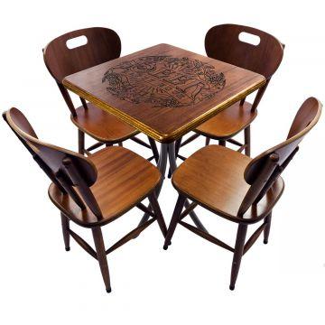 Mesa com 4 cadeiras de madeira Beer Happy Hour - Empório Tambo
