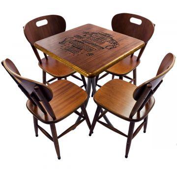 Mesa com 4 cadeiras de madeira Familia e amigos - Empório Tambo