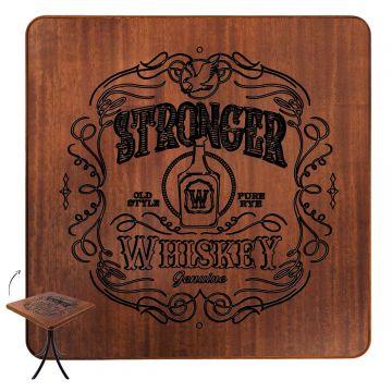 Mesa de madeira rústica para sala de jantar Stronger Whiskey - Empório Tambo