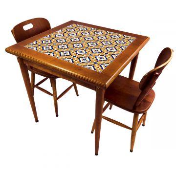Mesa de jantar pequena quadrada para sala 2 cadeiras Anos Dourados - Empório Tambo