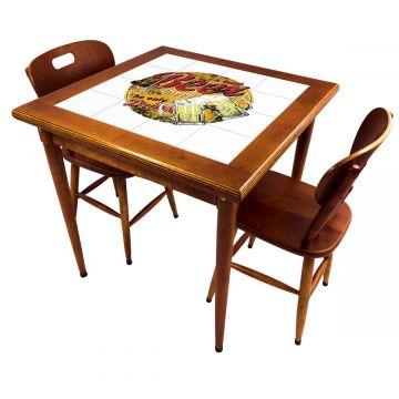 Mesa de jantar pequena quadrada para sala 2 cadeiras Beer Stay Happy - Empório Tambo