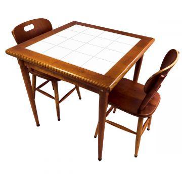 Mesa de jantar pequena quadrada para sala 2 cadeiras Branco - Empório Tambo