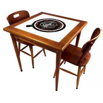 Mesa de jantar pequena quadrada para sala 2 cadeiras Coffe - Empório Tambo
