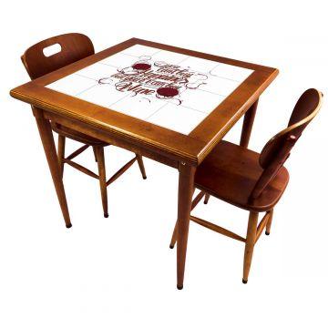 Mesa de jantar pequena quadrada para sala 2 cadeiras Happiness - Empório Tambo