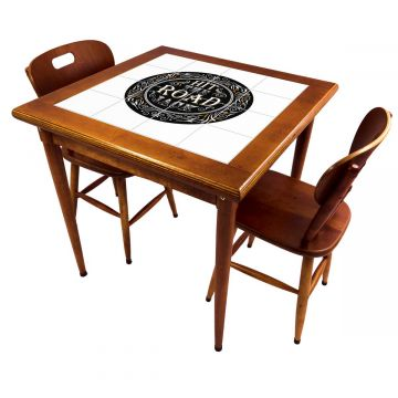 Mesa de jantar pequena quadrada para sala 2 cadeiras Hit the Road Jack - Empório Tambo