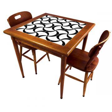 Mesa de jantar pequena quadrada para sala 2 cadeiras Luar - Empório Tambo