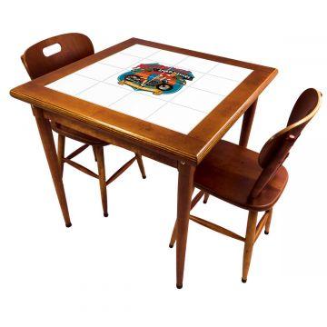 Mesa de jantar pequena quadrada para sala 2 cadeiras Motorcycle - Empório Tambo