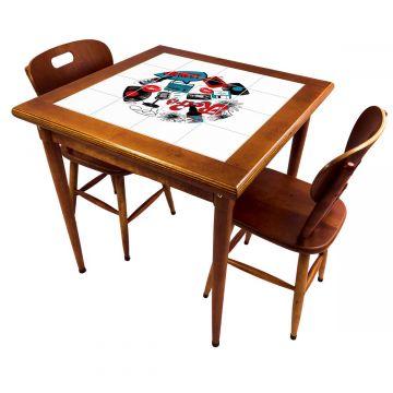 Mesa de jantar pequena quadrada para sala 2 cadeiras Oh My - Empório Tambo