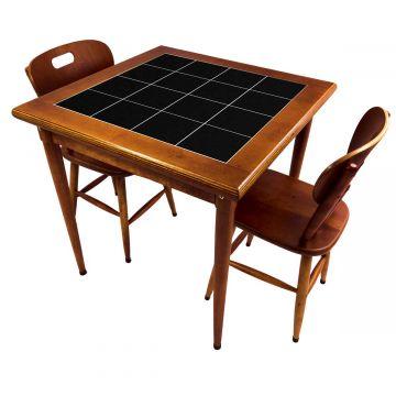 Mesa de jantar pequena quadrada para sala 2 cadeiras Preto - Empório Tambo