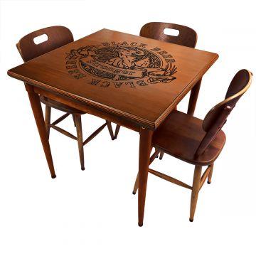 Mesa jantar 80x80 pequena de madeira com 3 cadeiras Black Beer - Empório Tambo