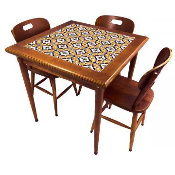 Mesa pequena de jantar com 3 cadeiras para apartamento Anos Dourados - Empório Tambo