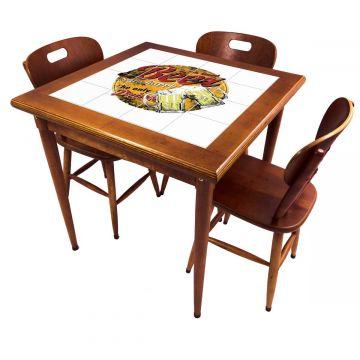 Mesa pequena de jantar com 3 cadeiras para apartamento Beer Stay Happy - Empório Tambo